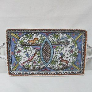 Horchow Vintage Platter Tray Peacocks Squirrel